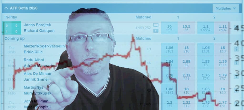Low risk tennis trading. Image shows a trader pointing at a price graph